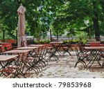 Beer garden awaits its guests - stock photo