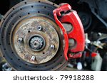 Close up of car brake - a series of MECHANIC related images. - stock photo
