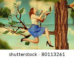 beautiful woman on tree with laptop, vintage pattern - stock photo