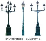 Lamp Post Lamppost Street Road Light Pole isolated - stock photo