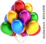 Happy birthday balloons party decoration multicolor red blue yellow green purple helium balloon. Childhood friendship abstract. Celebrate concept. Detailed 3d render. Isolated on white background - stock photo