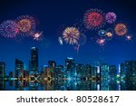 Big fireworks over the skyline of downtown Miami - stock photo