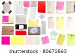 collection of old papers and stickers isolated on white - stock photo