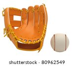 Sports: baseball glove and ball isolated over white background - stock photo