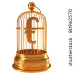 Euro currency symbol in golden birdcage isolated over white - stock photo
