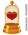 Imprisoned love: red heart in golden cage isolated on white - stock photo
