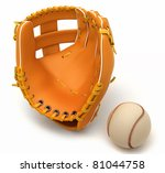 Sports in USA: baseball glove and ball over white background - stock photo