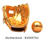 Sports and leisure: golden baseball glove and ball isolated over white background - stock photo