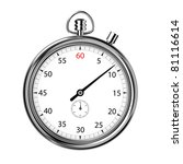 front view of an analogue stopwatch isolated on a white background. Clipping path included - stock photo