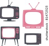 stylish retro tv set - stock vector