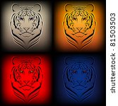 Set of vector tigers in various colors - stock vector