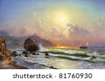 Oil painting on canvas, sailboat against a background of sea sunset - stock photo