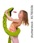 girl fights with toy snake isolated on white - stock photo