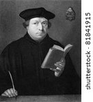 Martin Luther (1483-1546). Engraved by C.E.Wagstaff and published in The Gallery Of Portraits With Memoirs encyclopedia, United Kingdom, 1833. - stock photo