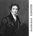 Michael Faraday (1791-1867). Engraved by J.Cochran and published in The National Portrait Gallery Of Illustrious And Eminent Personages encyclopedia, United Kingdom, 1835. - stock photo