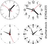 Set vector illustration of clock - stock vector