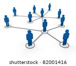 3d blue social network community men team - stock photo