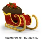 Santa's sleigh loaded with presents on white background - high quality 3d illustration - stock photo