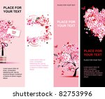 Summer floral pink banners vertical for your design - stock vector