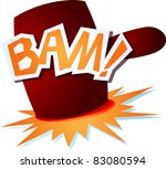 onomatopoeic sound with a funny hammer. Vector image - stock vector
