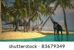 brachiosaurus on bank - stock photo