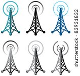 vector design of radio tower symbols - stock vector