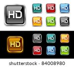 HD tv buttons and icon. - stock vector