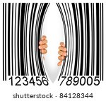 Big bar code torn apart in the middle by two hands - Consumerism concept - stock photo