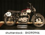 PHILADELPHIA, PA - SEPT 2: Simeone Museum shows a 1963 twin engine Triumph motorcycle , it's one of 7 ever built. September 2, 2011 in Philadelphia PA. - stock photo
