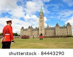 OTTAWA-AUGUST 02: Changing the Ceremonial Guard on Parliament Hill (Canadian Parliament) is main attraction in Canadian capitol on August 02, 2011 in Ottawa - stock photo