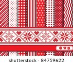 Christmas digital scrapbooking paper swatches in red and white with Scandinavian style ribbon. EPS10 vector format. - stock vector