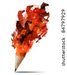 the art of creative splash pencil with horse image isolate on white - stock photo
