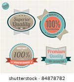 Superior Quality and Satisfaction Guarantee Badges Set  with retro vintage style - stock vector