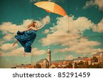 art collage with flying woman, vintage image - stock photo