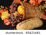 fruits and vegetables/Cornucopia for Thanksgiving/Collection of food in a wicker horn - stock photo