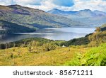 Loch Lomond, Scotland from the Ben Lomond summit route - stock photo