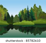 Vector landscape with green trees and blue lake on a sky background - stock vector