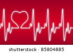 heart on a cardiogram - stock vector