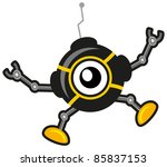 illustration of cartoon spy robot - stock vector