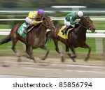 "ELMONT, NY - OCT 1: ""Indy Sea"" and jockey Ramon Dominguez (#5) move up on ""Silver Max"" and Corey Nakatani to win a maiden race at Belmont Park on Oct 1, 2011 in Elmont, NY. - stock photo"