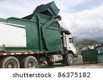 Garbage truck empty's a dumpster full of trash. - stock photo