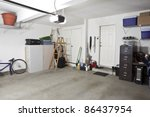Clean swept interior suburban garage. - stock photo