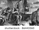 Shoemaking at the philanthropic society's farm school at redhill. Engraved by anonymous engraver and published in The Graphic newspaper, United Kingdom, 1872. - stock photo