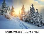 Winter landscape on a sunset. Mountains Carpathians, Ukraine - stock photo
