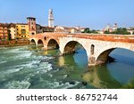 View of Adige river and St Peter bridge, Verona, Italy. - stock photo