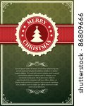 Christmas background with label and snowflakes vector background - stock vector