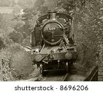 steam train shot in black and white - stock photo