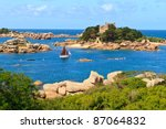 Cote de granite Rose, Brittany Coast near Ploumanach, France - stock photo
