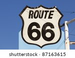 An old route 66 sign in New Mexico. - stock photo
