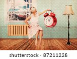 beautiful woman in room with clock, art collage, retro texture - stock photo